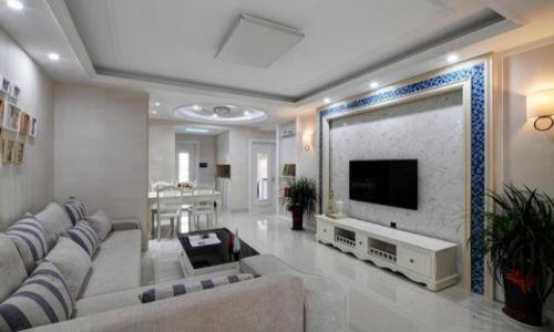 白色简欧客厅吊顶装饰图