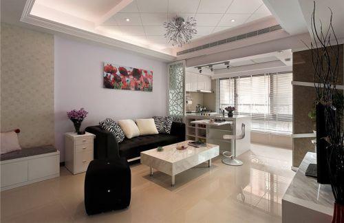 米色简欧风格客厅吊顶设计案例