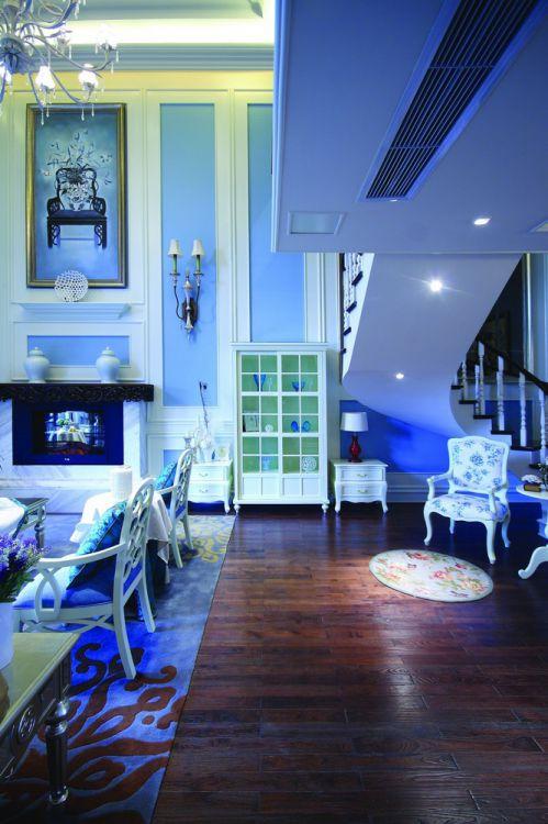 蓝色地中海风格客厅吊顶装潢设计