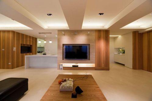 原木色美式风格背景墙效果图