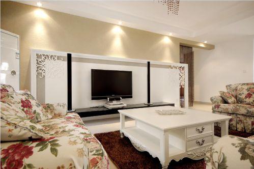 白色美式客厅背景墙效果图设计鉴赏