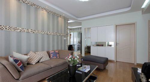 绿色美式风格客厅背景墙壁纸欣赏