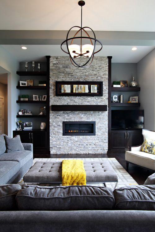灰色美式风格客厅背景墙装修案例