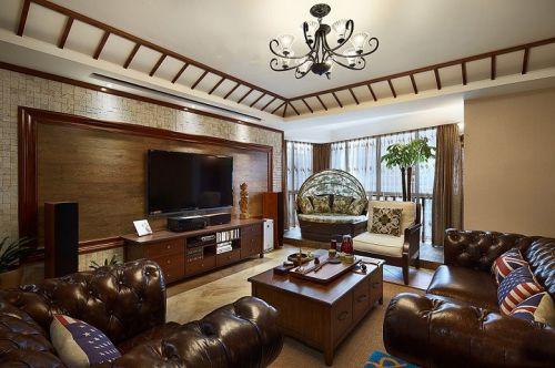 大气沉稳美式风格客厅背景墙装修图