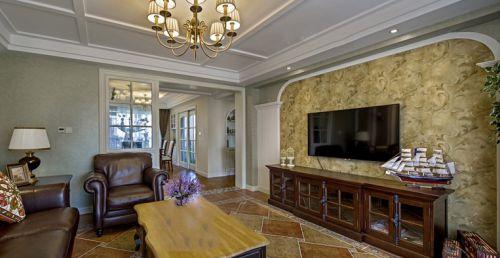 美式风格温馨黄色客厅背景墙美图赏析