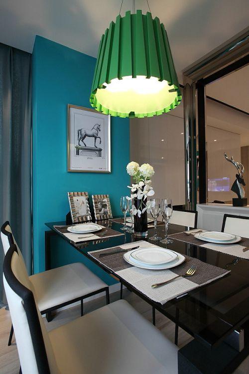 2016时尚简约风格蓝色餐厅吊顶欣赏