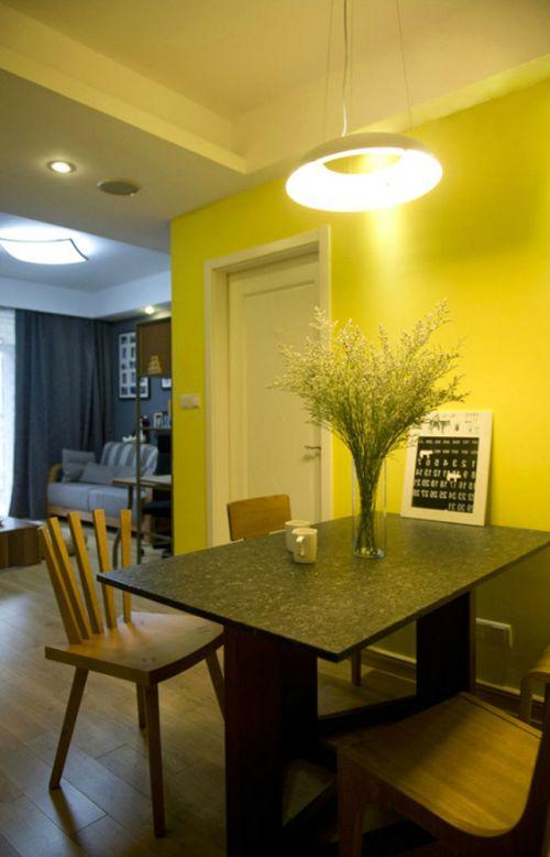 黄色简约风格餐厅吊顶设计案例