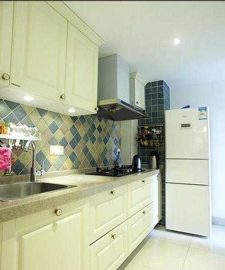 浪漫优雅美式绿色厨房橱柜设计图