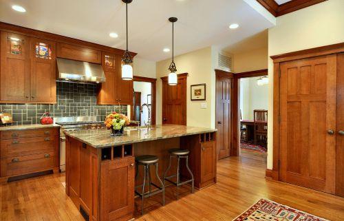 美式风格橙色厨房橱柜装潢案例