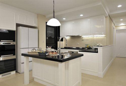 白色美式风格开放式厨房橱柜设计图