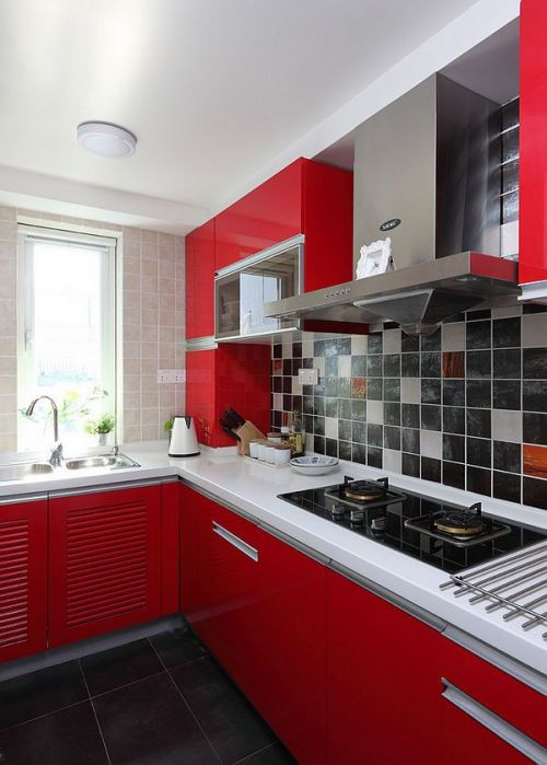 红色个性现代风格厨房橱柜装修案例