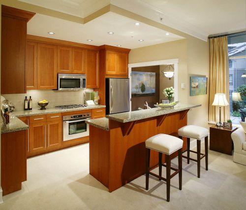 时尚现代低奢开放式厨房·橱柜效果图