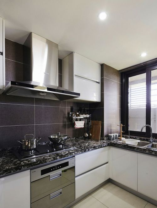 灰色现代厨房橱柜装潢设计