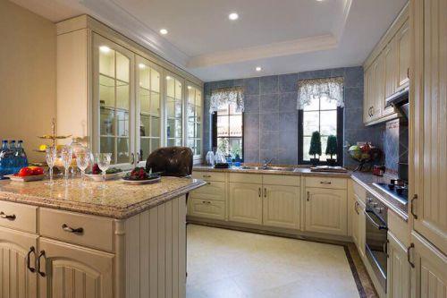 浪漫米色简欧风格厨房橱柜装饰设计图片