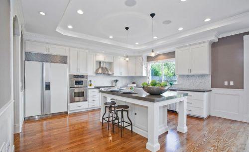 清新简欧风格白色厨房橱柜装修布置
