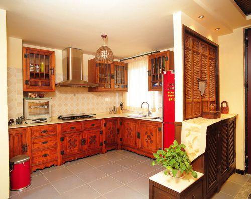 2016东南亚风格橙色厨房橱柜美图欣赏