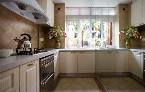 烂漫碎花田园风格米色厨房橱柜效果图设计