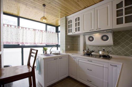 纯白田园设计厨房橱柜效果图