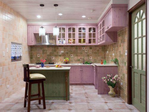 田园风格粉色厨房橱柜装饰设计图片