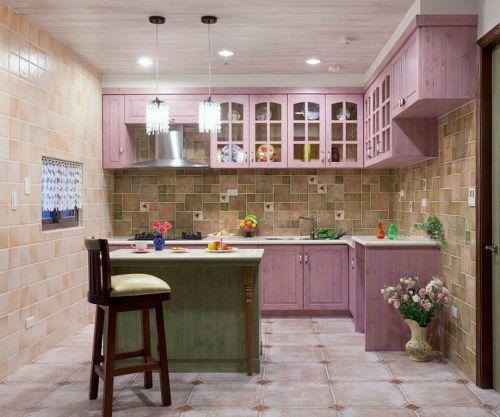 田2016园粉色厨房橱柜装修案例