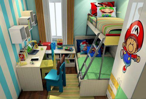 混搭可爱绿色儿童房衣柜欣赏