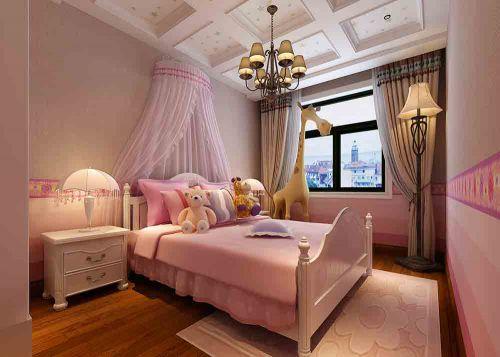 粉色简欧公主范儿童房装潢装饰