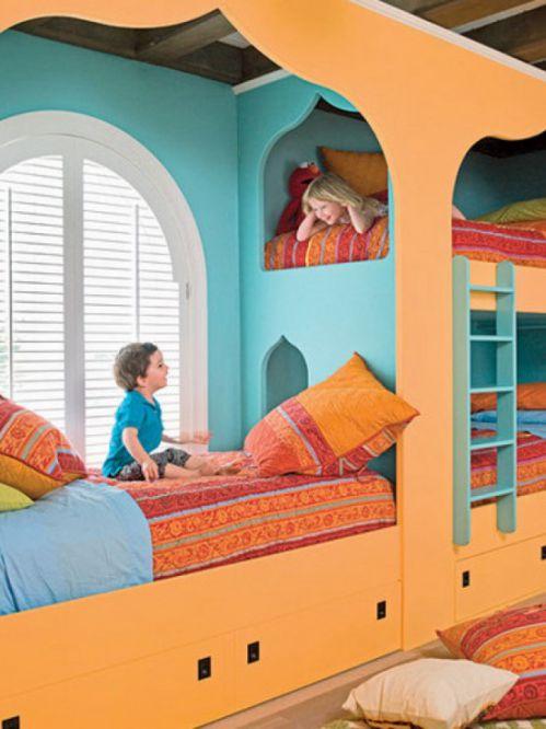 橙色东南亚风格儿童房装修设计