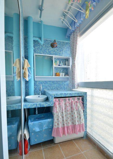 蓝色地中海风格阳台效果图