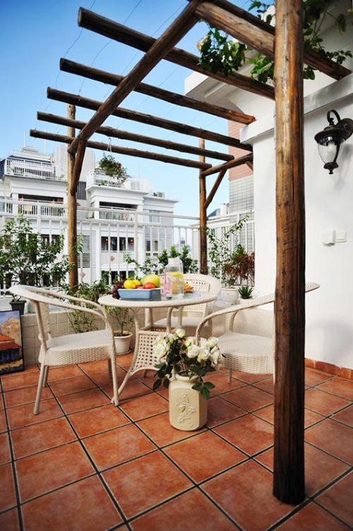 白色地中海阳台设计