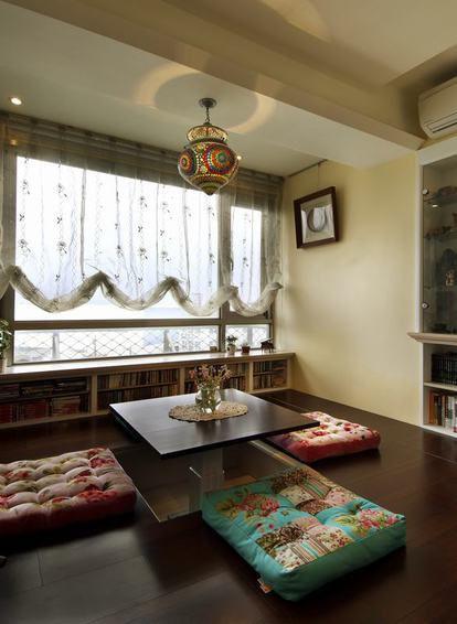 褐色东南亚风格阳台榻榻米设计图