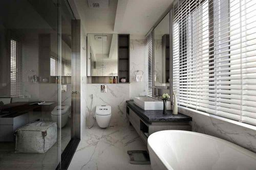 黑色现代简约卫生间设计效果图