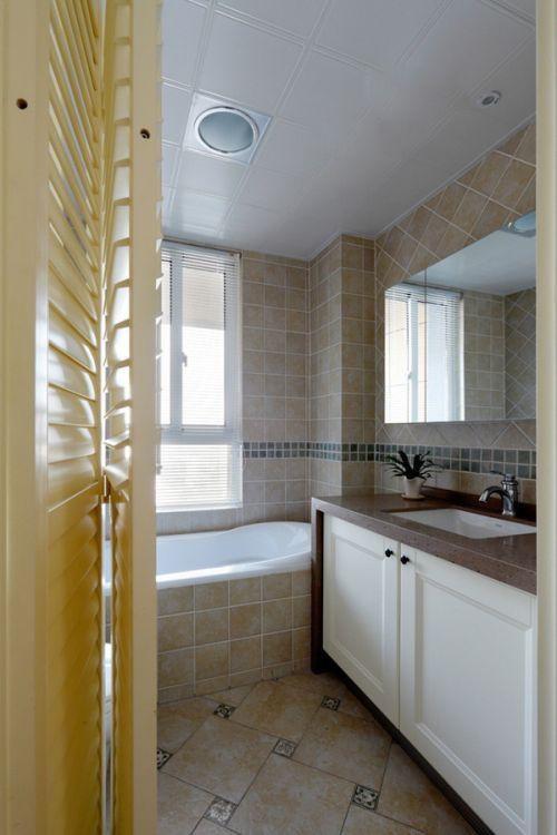 现代风清新淡黄色卫生间装修设计