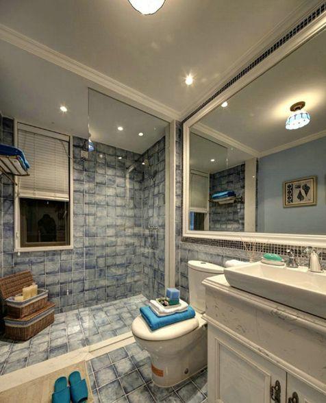 地中海风格蓝色卫生间装修图