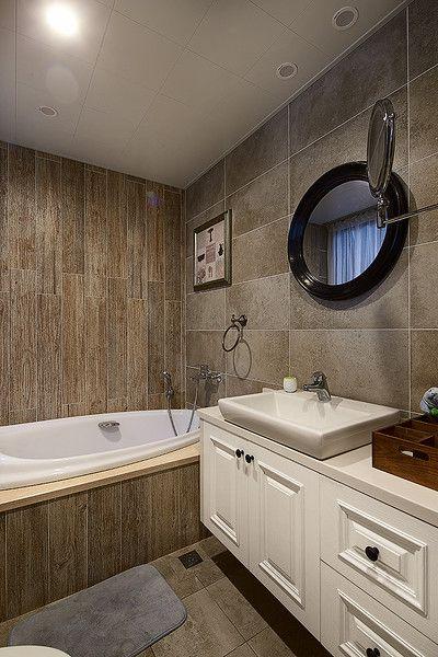 灰色质感美式风格卫生间装潢设计