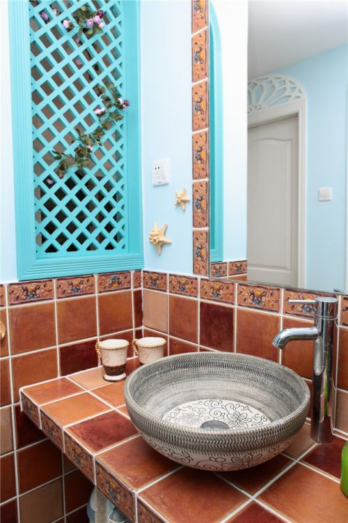 地中海装修设计卫生间洗脸盆