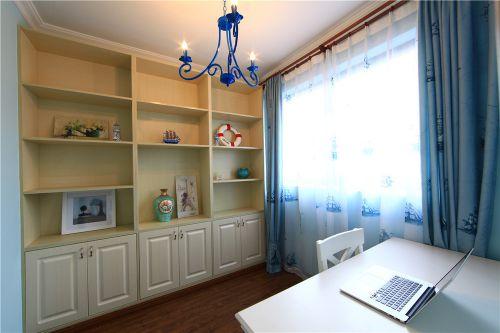 田园风格蓝色书房装饰图