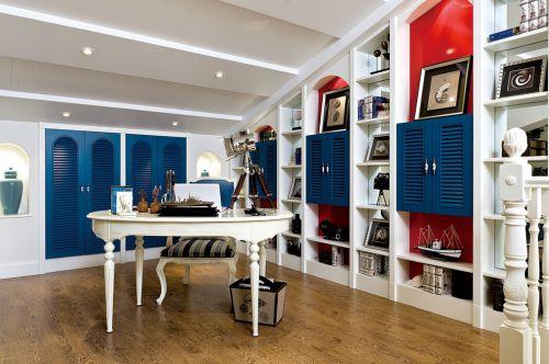蓝色梦幻地中海家居书房设计