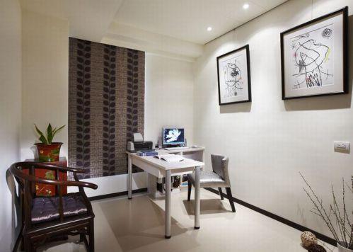 雅致自然简约风格白色书房装潢设计