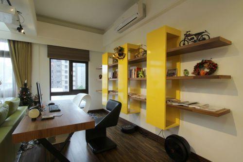 现代风格个性黄色书房装修设计