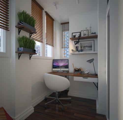 现代白色阳台书房图片赏析