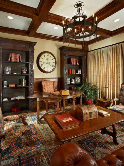 大气雅致奢华复古美式风格书房欣赏