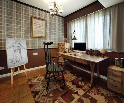 文艺自然美式风格书房设计装潢