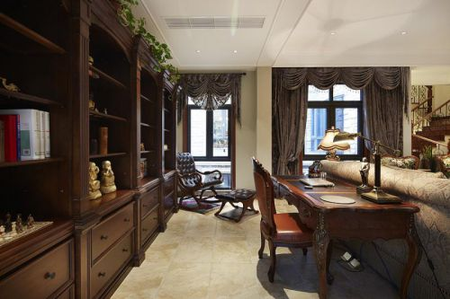 美式风格褐色书房书柜装修布置