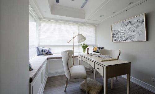淡雅白色美式简约风格书房效果图设计