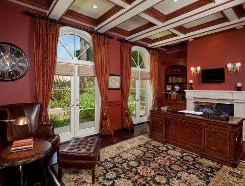 美式红色复古书房装修效果图