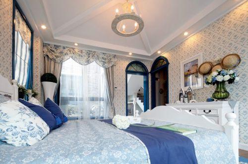 蓝色清新地中海风格卧室装修图片