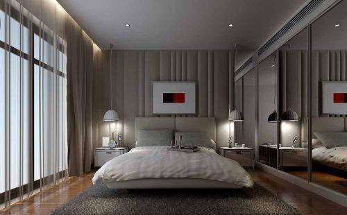 灰色静谧简约卧室装潢