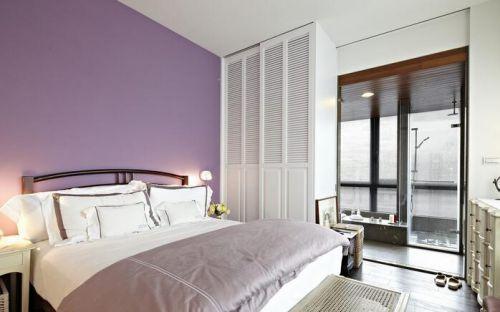 紫色浪漫简约卧室装修效果图