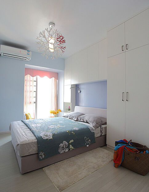 清新蓝色简约风格卧室装修图片