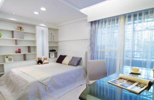 蓝色简约风格卧室装饰美图